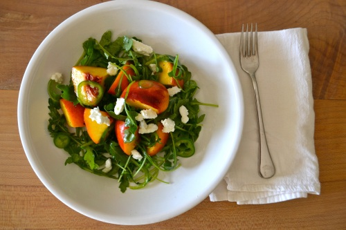 peach salad above