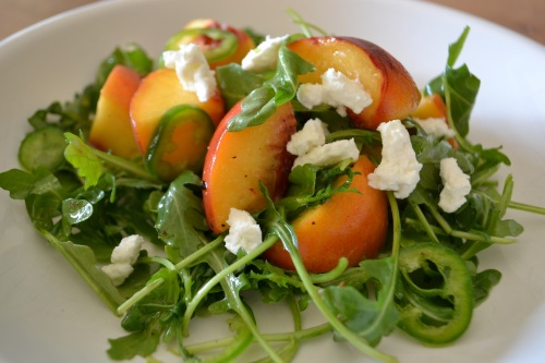 peach salad close