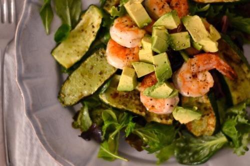 prawn zucc salad above