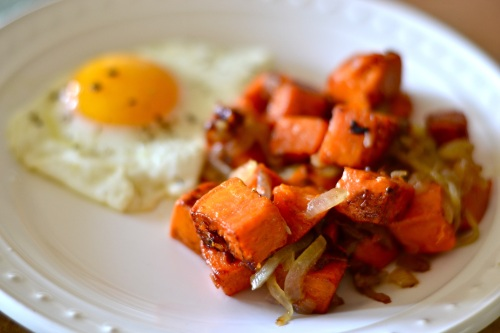sweet potato hash close