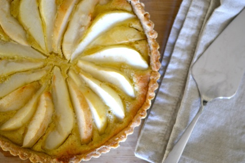 pear tart above