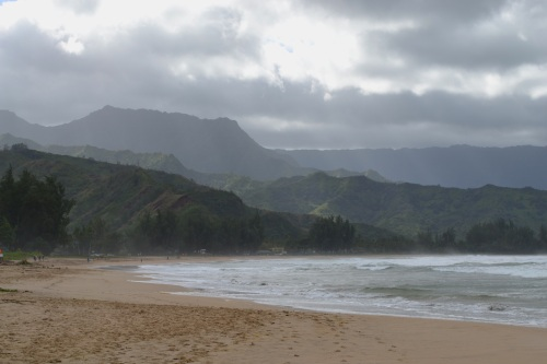 A view of Halanlei Bay on a stormy day.