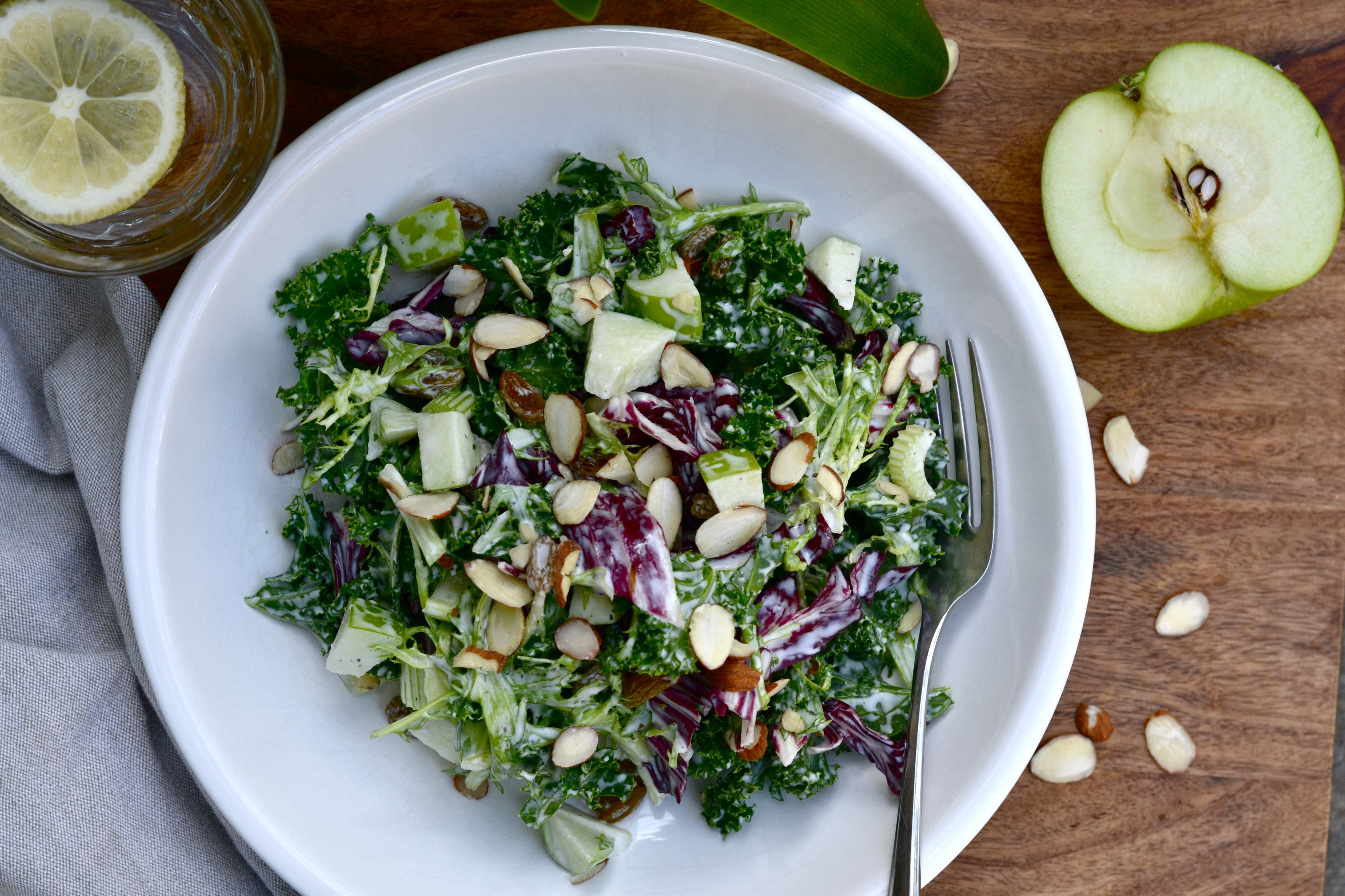 Kale apple salad with frisee, radicchio and pepper buttermilk dressing ...