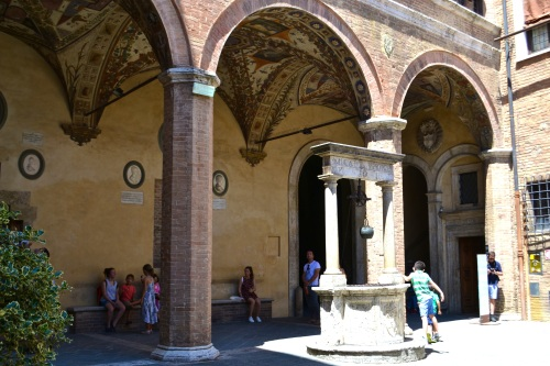 A lovely Siena courtyard with frescoed ceilings.